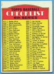 1972 Topps Baseball Cards      604B    Checklist 657-787 Left Copy